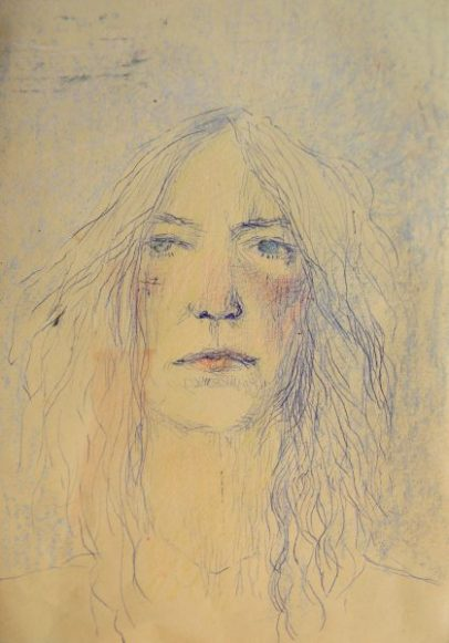 Patty Smith - ink and pastels on paper